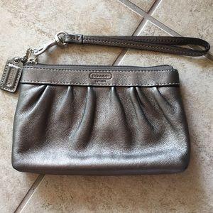 Coach leather grey metallic wristlet